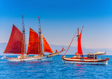 Classic wooden sailing boats Royalty Free Stock Photo