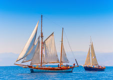 Classic wooden sailing boats Royalty Free Stock Images
