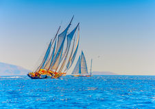 Classic wooden sailing boats Stock Photo