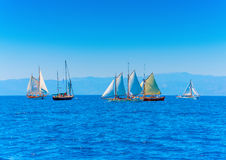 Classic wooden sailing boats Stock Photos