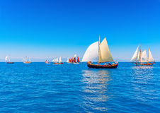 Classic wooden sailing boats Royalty Free Stock Image