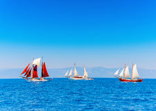 Classic wooden sailing boats Royalty Free Stock Photos