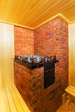 Classic wooden sauna inside Royalty Free Stock Photo