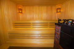 Classic wooden sauna inside Royalty Free Stock Image