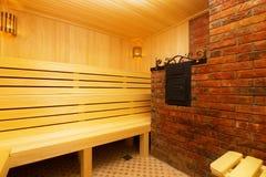 Classic wooden sauna inside Stock Photos