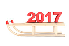 Classic Wooden Sled with 2017 New Year Sign. 3d Rendering. Classic Wooden Sled with 2017 New Year Sign on a white background. 3d Rendering Stock Photo