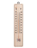 Classic wooden thermometer. Royalty Free Stock Photography