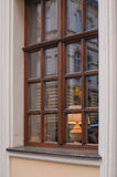 Classic Wooden window with lamp Royalty Free Stock Photography