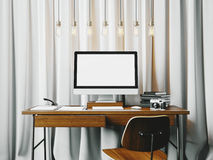 Classic workspace with white blinds on the Stock Photos