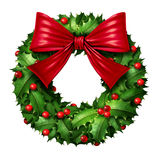 Classic Wreath With Red Ribbon Royalty Free Stock Images
