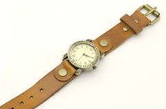 Classic Wristwatch isolated on white Royalty Free Stock Images