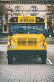 Classic yellow american school bus on the parking Royalty Free Stock Photography