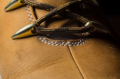 Classic Yellow Leather Shoes, Genuine. Unique Style, Stock Photo