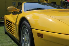 Classic yellow testarossa detail. Details close up. yellow 1980s Ferrari Testarossa sports car on display outdoors. 2013 Belle Macchine d'Italia car event stock image