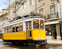 Classic yellow tram of Lisbon, Portugal Stock Image