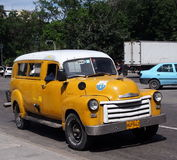 Classic Yellow And White Cuban Taxi Stock Photos