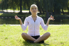 Classic yoga pose Royalty Free Stock Images