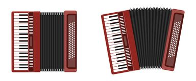Classical accordion, harmonic, jew`s-harp. Musical instrument. Accordion isolated on white background. Accordion flat icon royalty free illustration