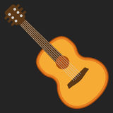 Classical acoustic flat vector guitar. Royalty Free Stock Photos