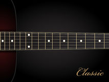 Classical acoustic guitar on black background Royalty Free Stock Photos