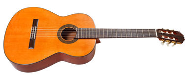 Classical acoustic guitar isolated on white. Background Stock Photos