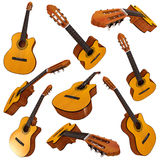 Classical acoustic guitar. Set Royalty Free Stock Photos