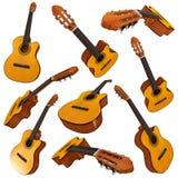 Classical acoustic guitar. Set. 3d render Royalty Free Stock Photos