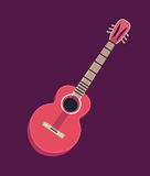 Classical acoustic guitar.  silhouette classic guitar. Musical string instrument. Vector illustration in flat Stock Photography