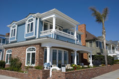 Classical american houses on waterfront of Newport Beach - Orange County, California Royalty Free Stock Photo