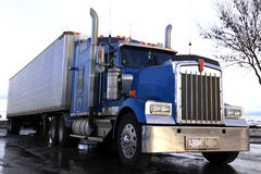 Classical american truck. Blue classical american truck outdoors royalty free stock images