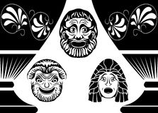 Classical Ancient Greek theatrical masks. Set from three masks Stock Photo