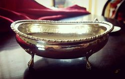 Silver vintage tableware, artistic sugar bowl Royalty Free Stock Photography