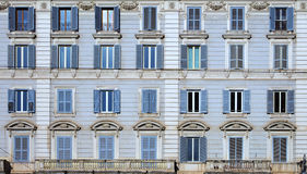 Classical apartaments windows  in Rome Royalty Free Stock Photos
