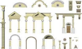Classical arches and columns. Vector images of elements of a facade of a classical building Classical arches and columns royalty free illustration