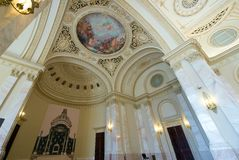 Classical architecture in The Throne Room-Bucharest, Romania. The Throne Room was once the sacred ground of the Romanian monarchy, where events such as the Stock Photos