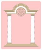 Classical Archway Two. Vector illustration of a classic arch gateway against a soft pink background for use as a border or frame vector illustration