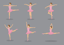 Classical Ballerina Dancer in Pink Tutu Vector Icon Set Stock Images
