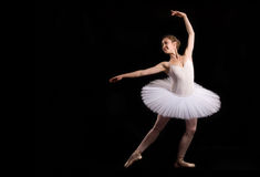 Classical ballerina in a white skirt Royalty Free Stock Images