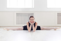 Classical ballet dancer portrait in white dansing hall stock images