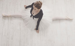 Classical Ballet dancer in split portrait, top view Royalty Free Stock Image