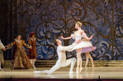 Classical ballet Sleeping beauty. DNIPRO, UKRAINE - JUNE 3, 2017: Classical ballet Sleeping beauty performed by members of the Dnipro Opera and Ballet Theatre Stock Photo