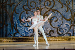 Classical ballet Sleeping beauty. DNIPRO, UKRAINE - JUNE 3, 2017: Classical ballet Sleeping beauty performed by members of the Dnipro Opera and Ballet Theatre Stock Image