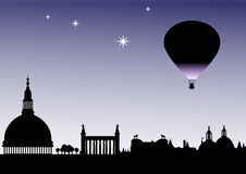 Classical Balloon skyline. Classical sky line silhouette with balloon and stars Royalty Free Stock Photography