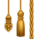 Classical baroque gold tassels clip art, isolated on white background Royalty Free Stock Photos