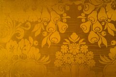 Gold classical baroque style exclusive wallpaper. Classical gold baroque style exclusive wallpaper with many fruits and flowers royalty free illustration
