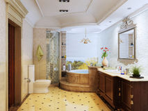 Classical bathroom. 3D rendering of a classical bathroom Royalty Free Stock Photo