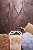 Classical bathroom wisps on vintage wooden board Stock Image
