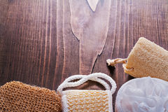 Classical bathroom wisps on vintage wooden board Stock Photo