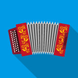Classical bayan, accordion or harmonic icon in flat style  on white background. Russian country symbol stock Stock Image