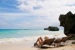 Classical Beach Scene Stock Photo